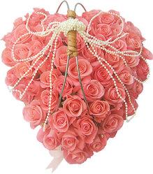 Сердце ангела  75 розовых роз