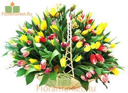 Цветочная корзина «150 тюльпанов»