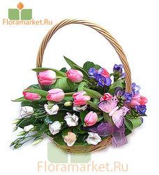 Цветочная корзина «Брошенный букет»